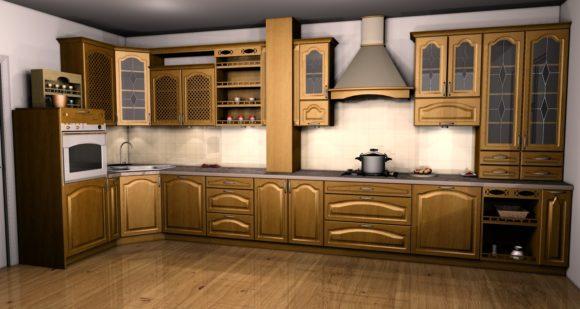 klasyczna kuchnia z mebli drewnianych
